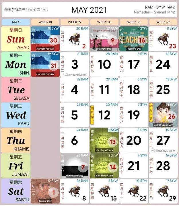 Kalendar 2021 Jadual Perincian Cuti Umum Negeri Malaysia throughout Kalendar 2021 Cuti Malaysia