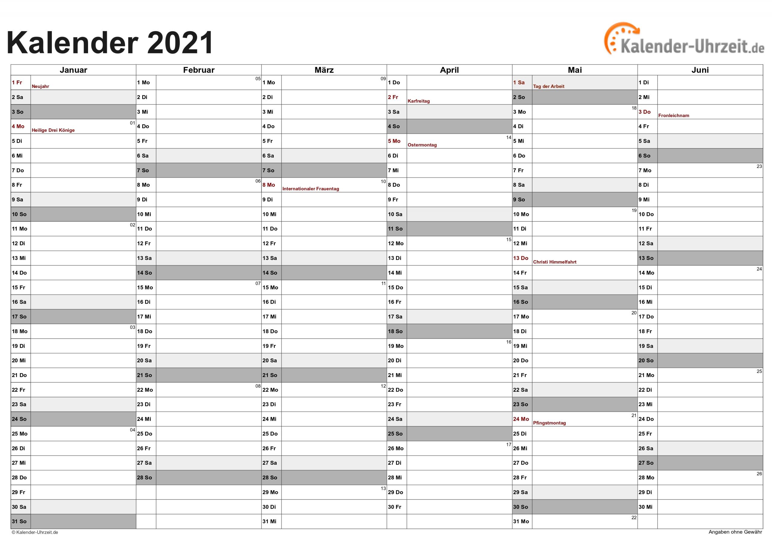Kalender 2021 Zum Ausdrucken - Kostenlos inside Excel Photo Kalender 2021 Gestalten