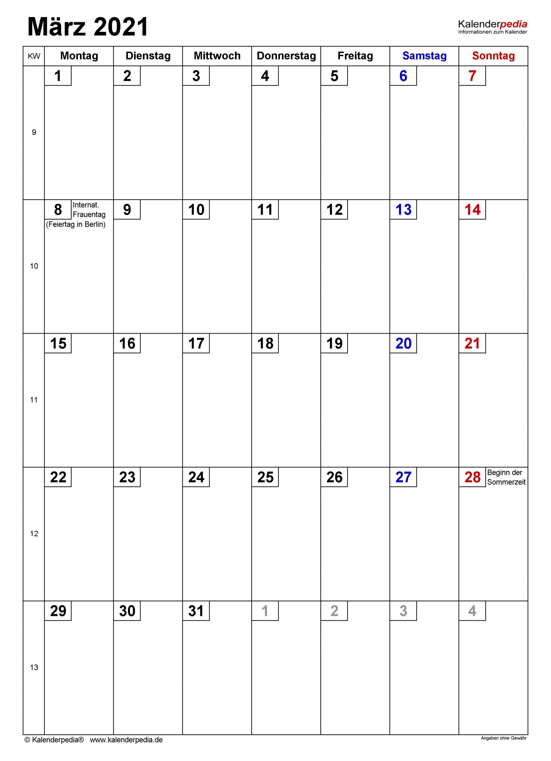Kalender März 2021 Als Pdf-Vorlagen throughout Excel Photo Kalender 2021 Gestalten Photo