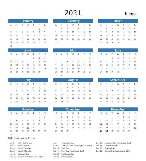 Kenya 2021 Calendar With Holidays | 2021Printablecalendar regarding Printable Calendar 2021 Singapore