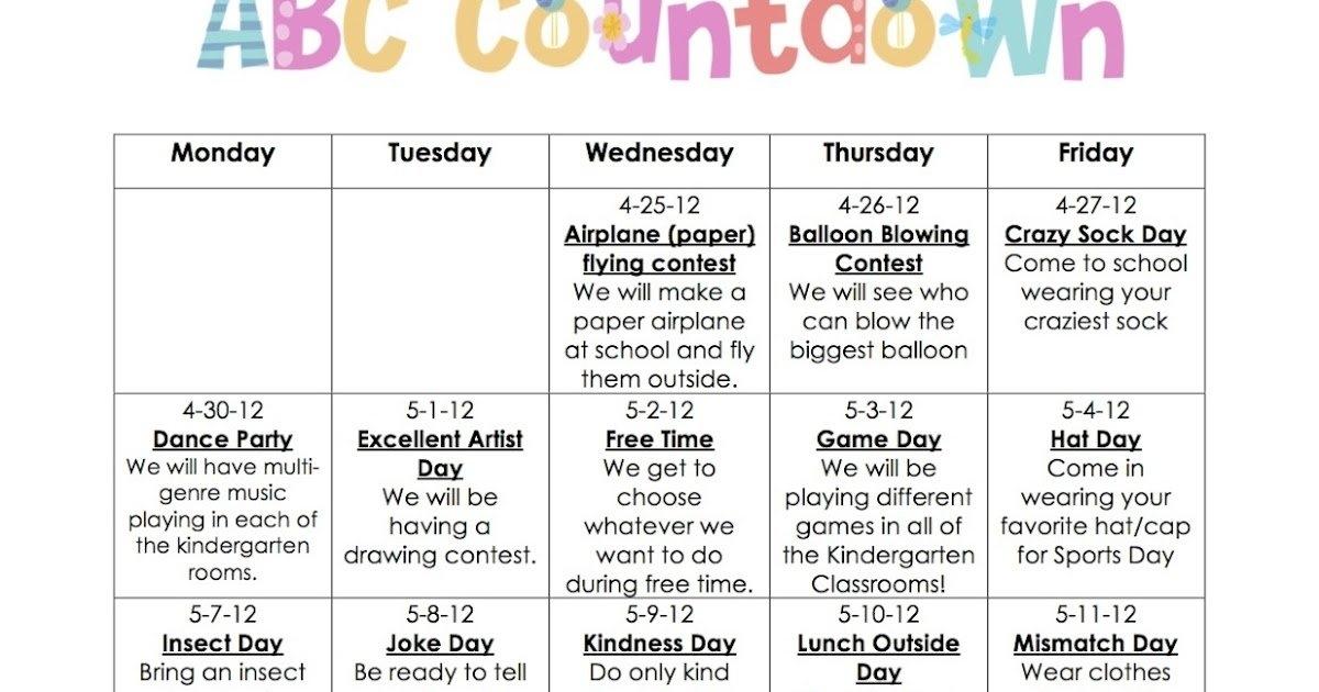 Kindertastic: Abc Countdown in 6 Week Countdown Calendar Photo