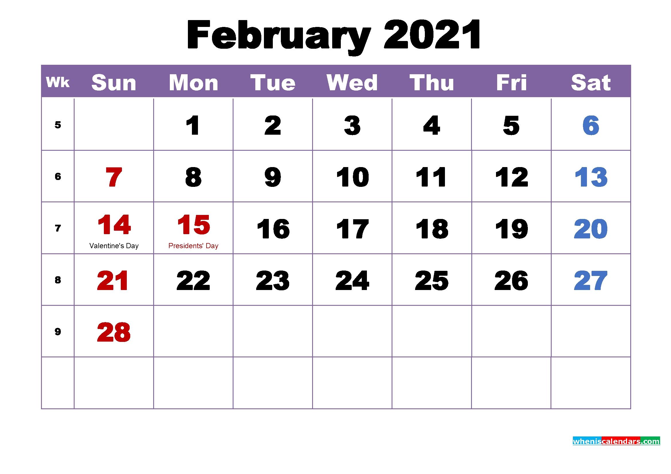 Large Number 2021 Free Calendar | Calendar Printables Free Blank inside 2021 Monthly Calendar With Holidays Printable Pdf Photo