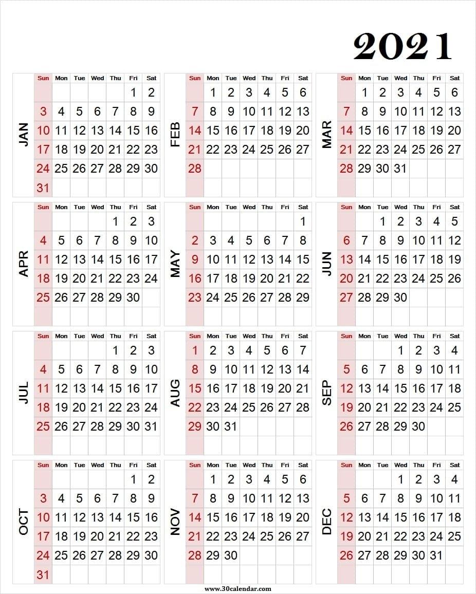 Large Print 2021 Calendar Template - Blank Yearly Calendar 2021 in Printable Weekly Calendar 2021 Photo