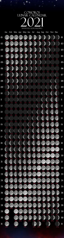 Lunar Calendar 2021 (Comoros) inside 2021 Lunar Calendar Print Photo
