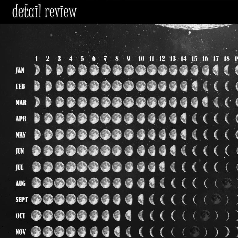 Lunar Calendar 2021 Moon Phase Wall Calendar Galaxy Print   Etsy in 2021 Lunar Calendar Print