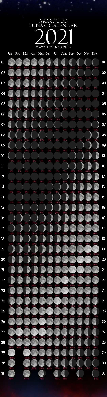 Lunar Calendar 2021 (Morocco) with regard to 2021 Lunar Calendar Print