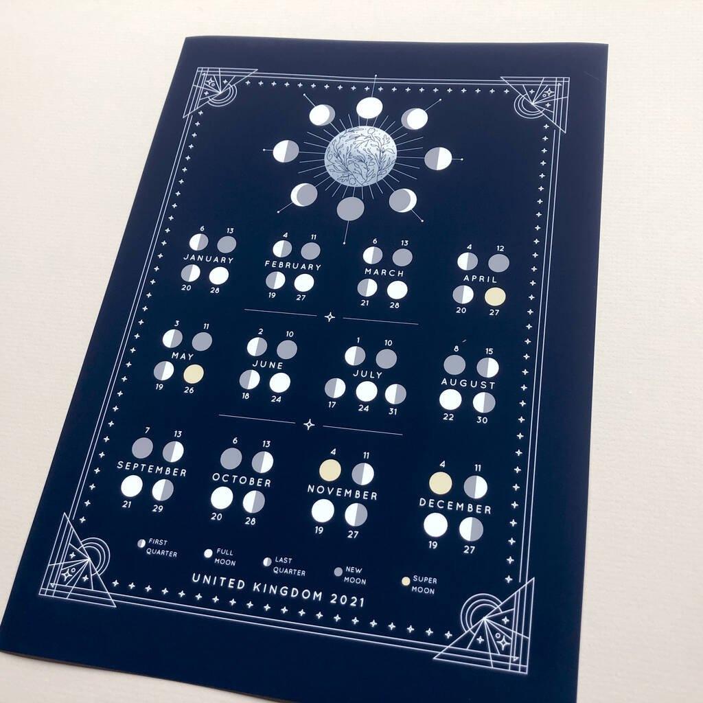 Lunar Calendar 2021Ant Design Gifts | Notonthehighstreet in Full Moon Calendar 2021 Printable Photo