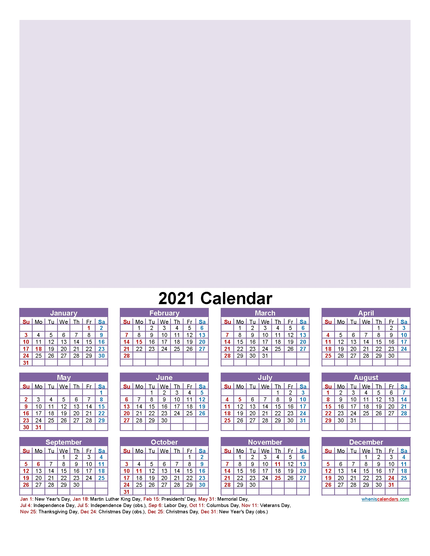 Make Your Own Photo Calendar Free 2021 - Template No.f21Y19 for One Page Photo Calendar 2021 Image