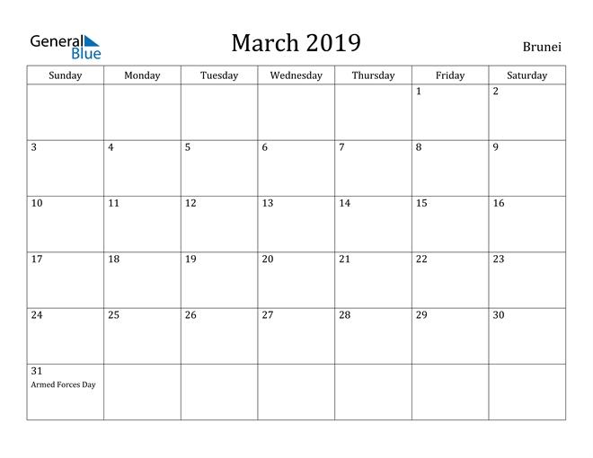 March 2019 Calendar - Brunei pertaining to Free Calendar Brunei 2021