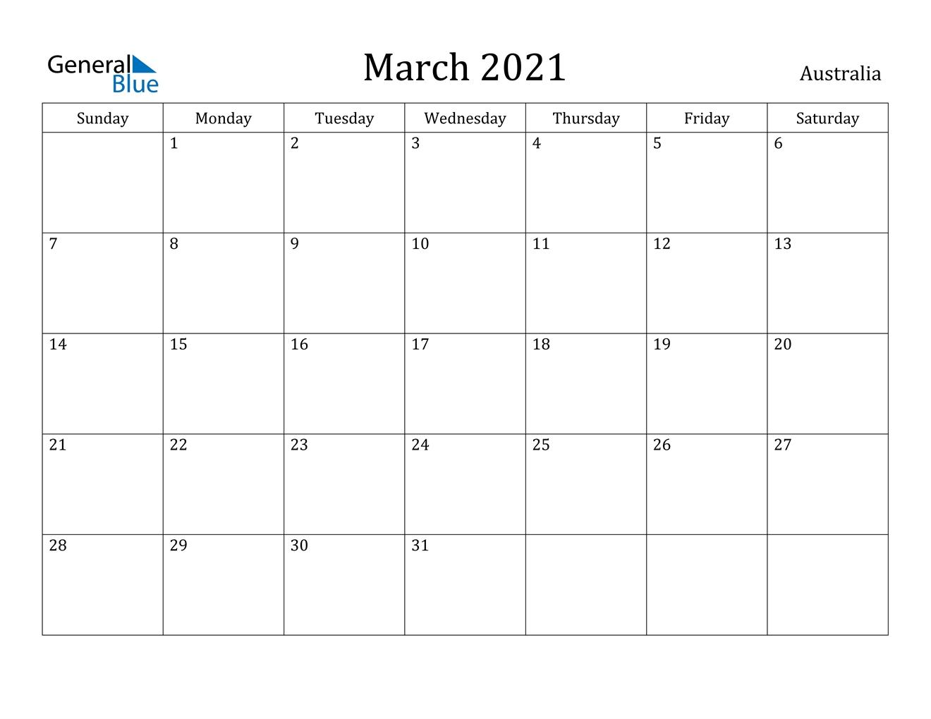 March 2021 Calendar - Australia regarding 2021 Australia Calendar With Holidays Photo
