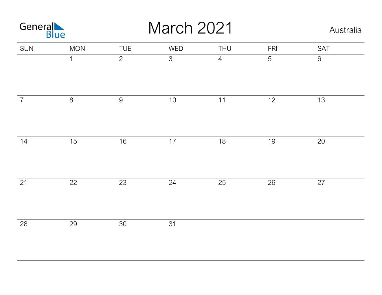 March 2021 Calendar - Australia within 2021 Calendar Template Excel Australia