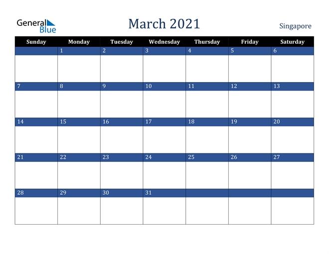 March 2021 Calendar - Singapore inside 2021 Holidays Calendar Singapore Outlook Image