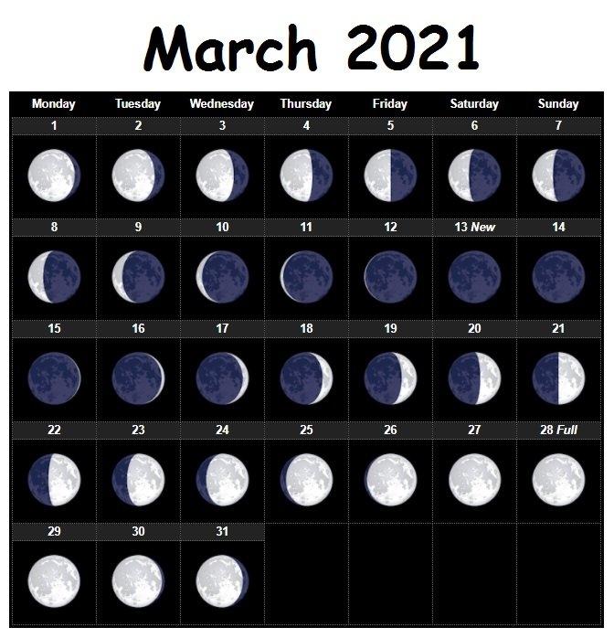March 2021 Moon Phases Lunar Printable Calendar Free Download | Calendarbuzz in 2021 Moon Phase Calendar Printable Graphics