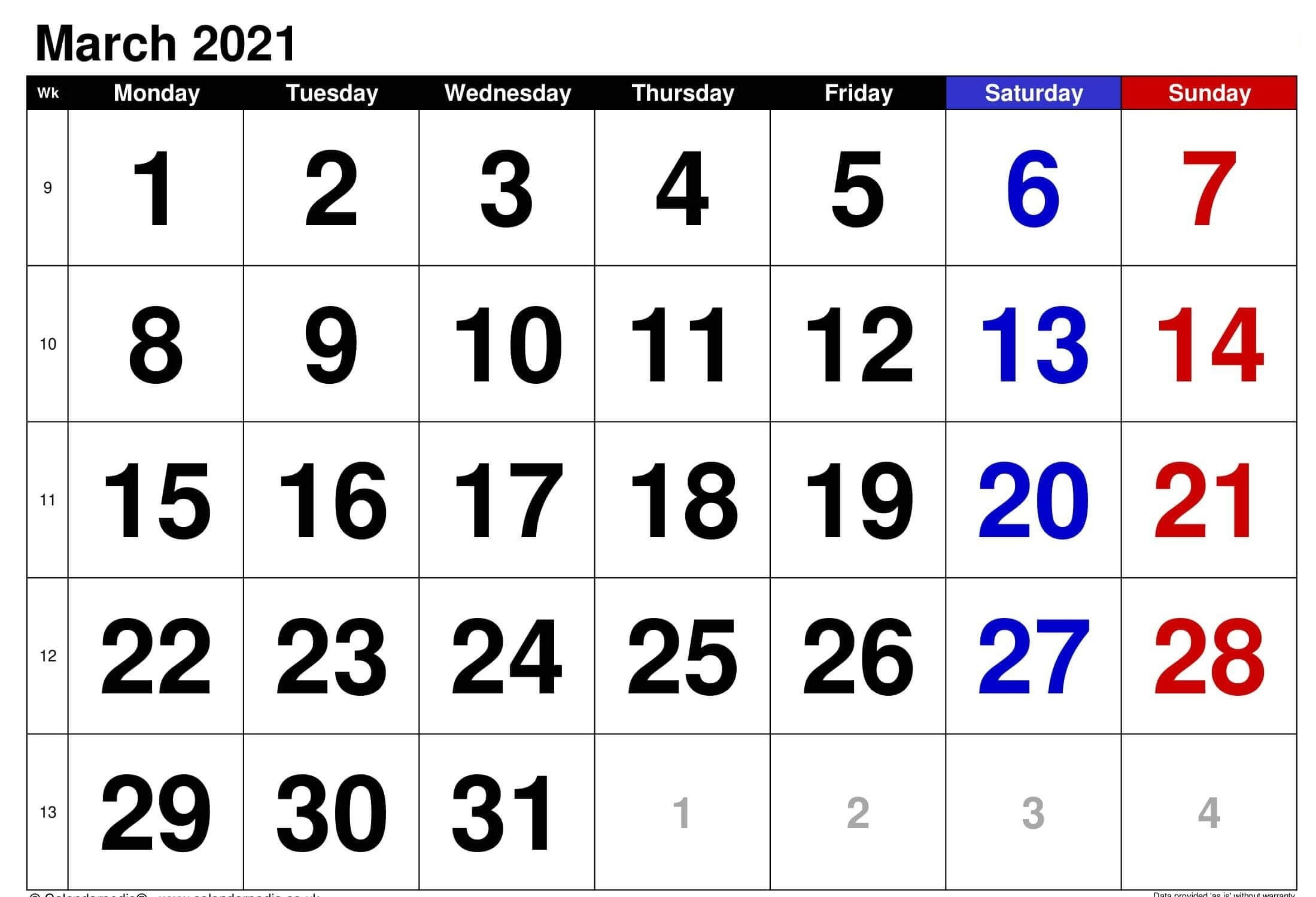 March 2021 Printable Calendar Notes Templates - One Platform For Digital Solutions March 2021 inside Printable Calendar 2021 Monthly With Notes