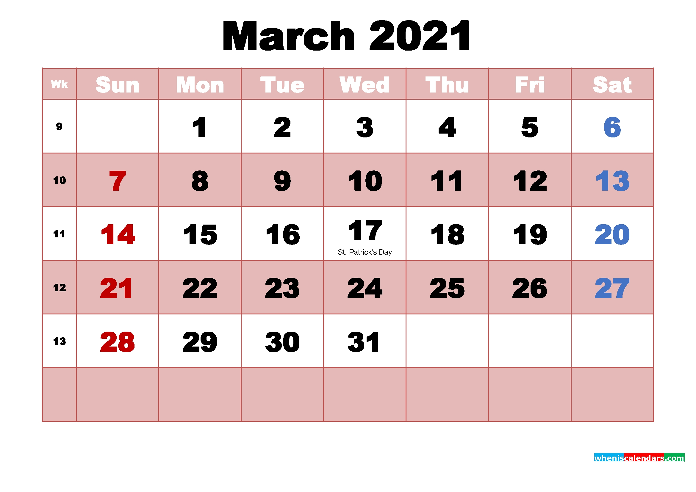 March 2021 Printable Monthly Calendar With Holidays   Free Printable 2020 Calendar With Holidays intended for Half Page Calendars 20212 Image