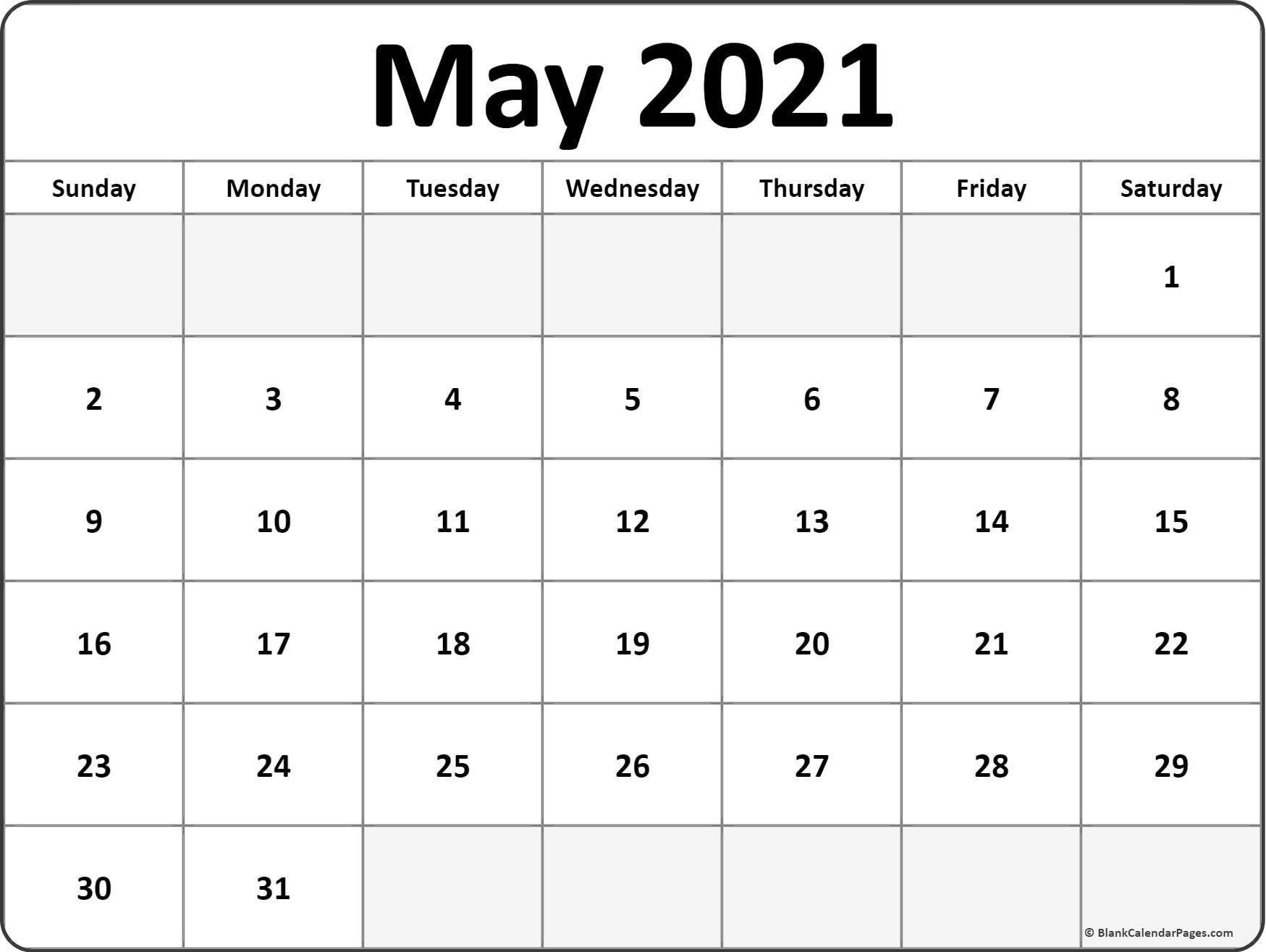 May 2021 Calendar Free Printable Monthly Calendars 1 - Calendar Template 2021 throughout 2021 Weekly Calendars Printable Free Image
