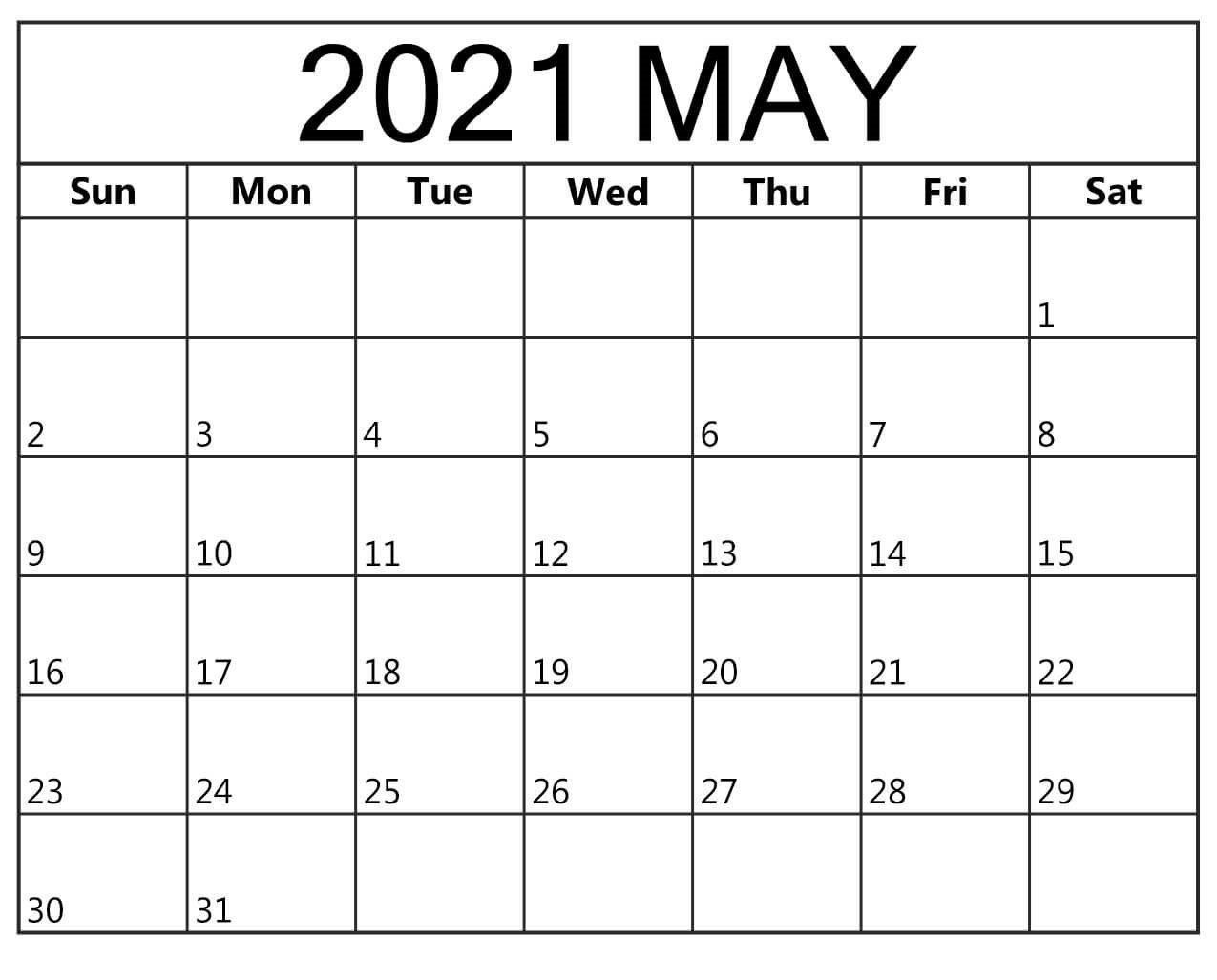 May 2021 Calendar Printable With Pdf - Thecalendarpedia regarding Free Printable Planner Pdf 2021