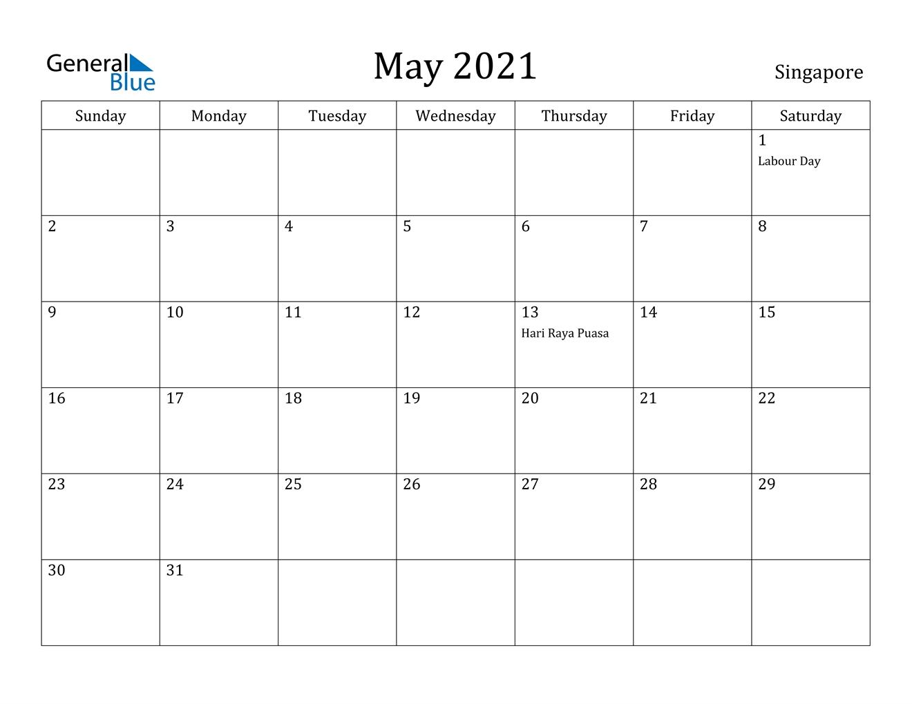 May 2021 Calendar - Singapore regarding 2021 Holidays Calendar Singapore Outlook