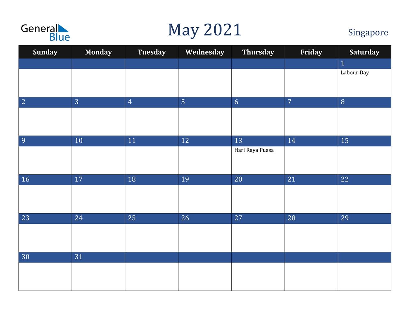 May 2021 Calendar - Singapore within Printable Calendar 2021 Singapore Photo