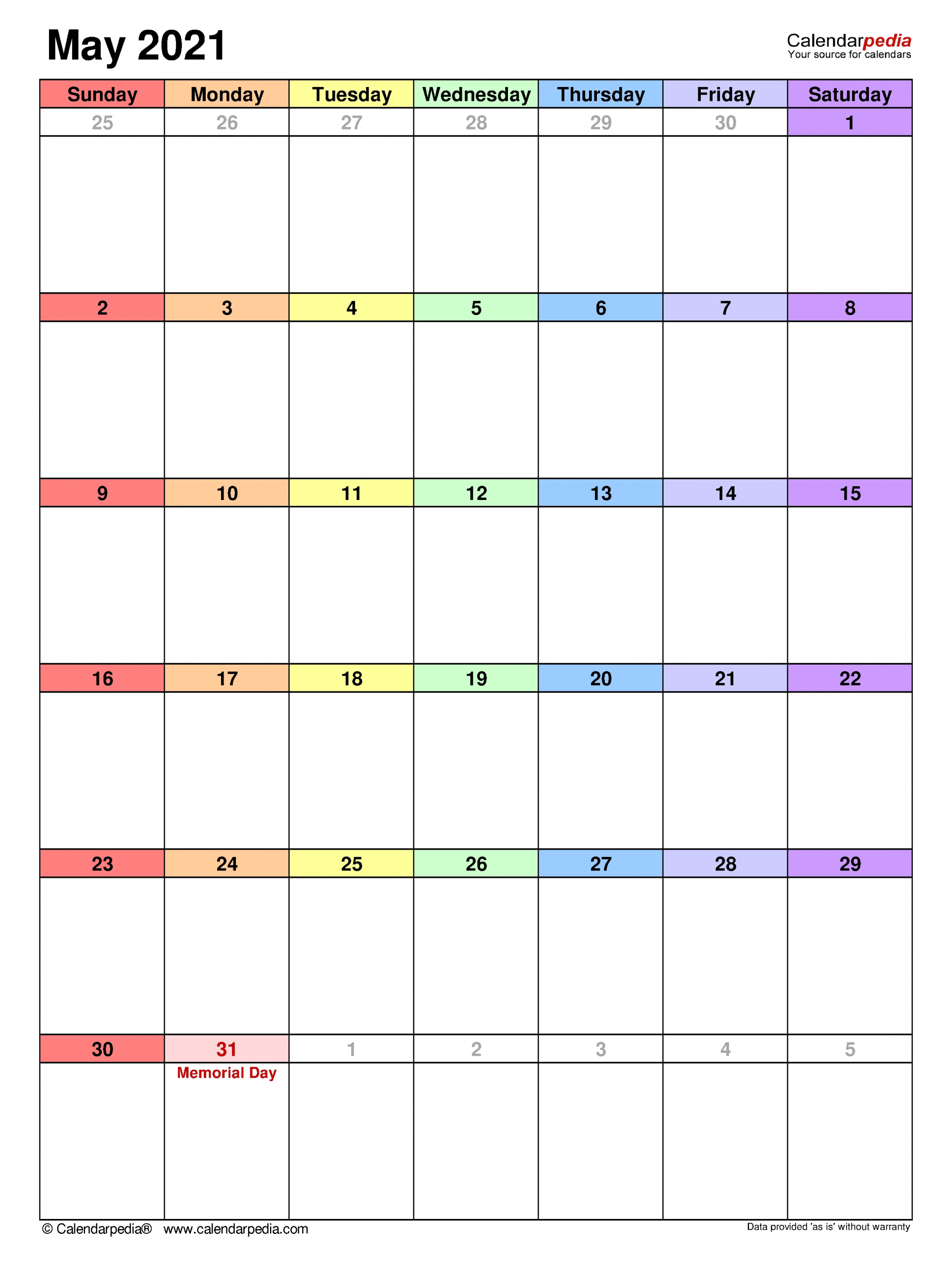 May 2021 Calendar   Templates For Word, Excel And Pdf in 2021 Excel Calendars Verticle Photo