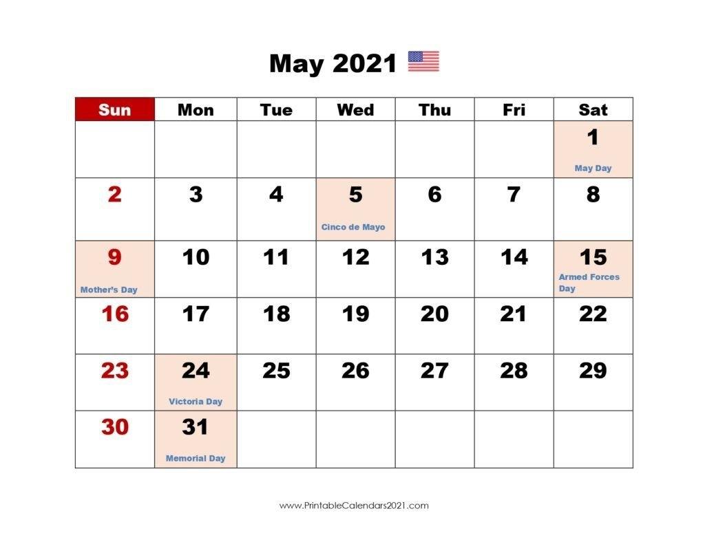 May 2021 Calendar With Holidays | Printable Calendars 2021 with regard to Free Minecraft Calendar 2021 Printable Image
