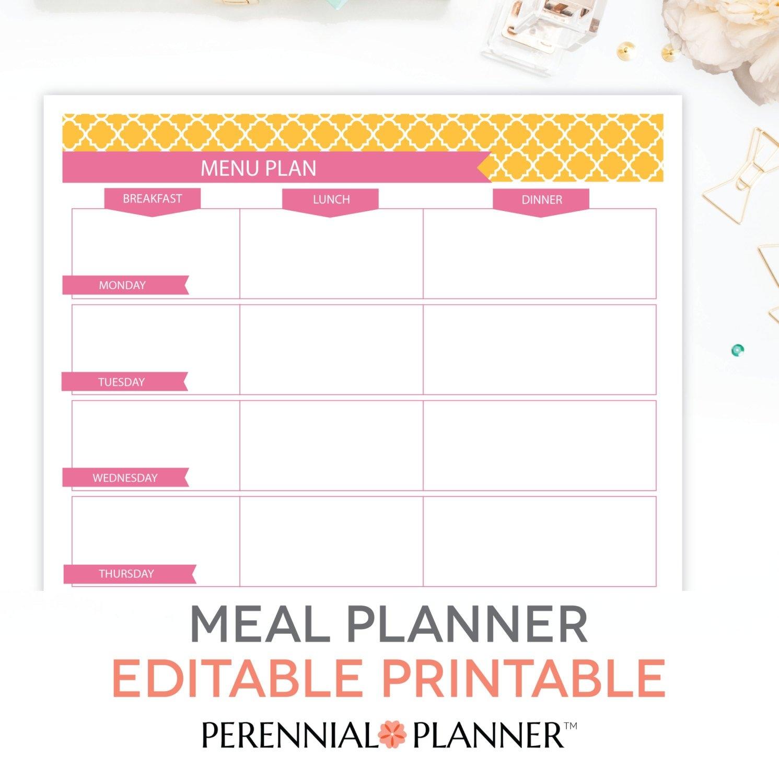 Menu Plan Weekly Meal Planning Template Printable Editable in Blank Meal Pages Two Week Dinner Graphics