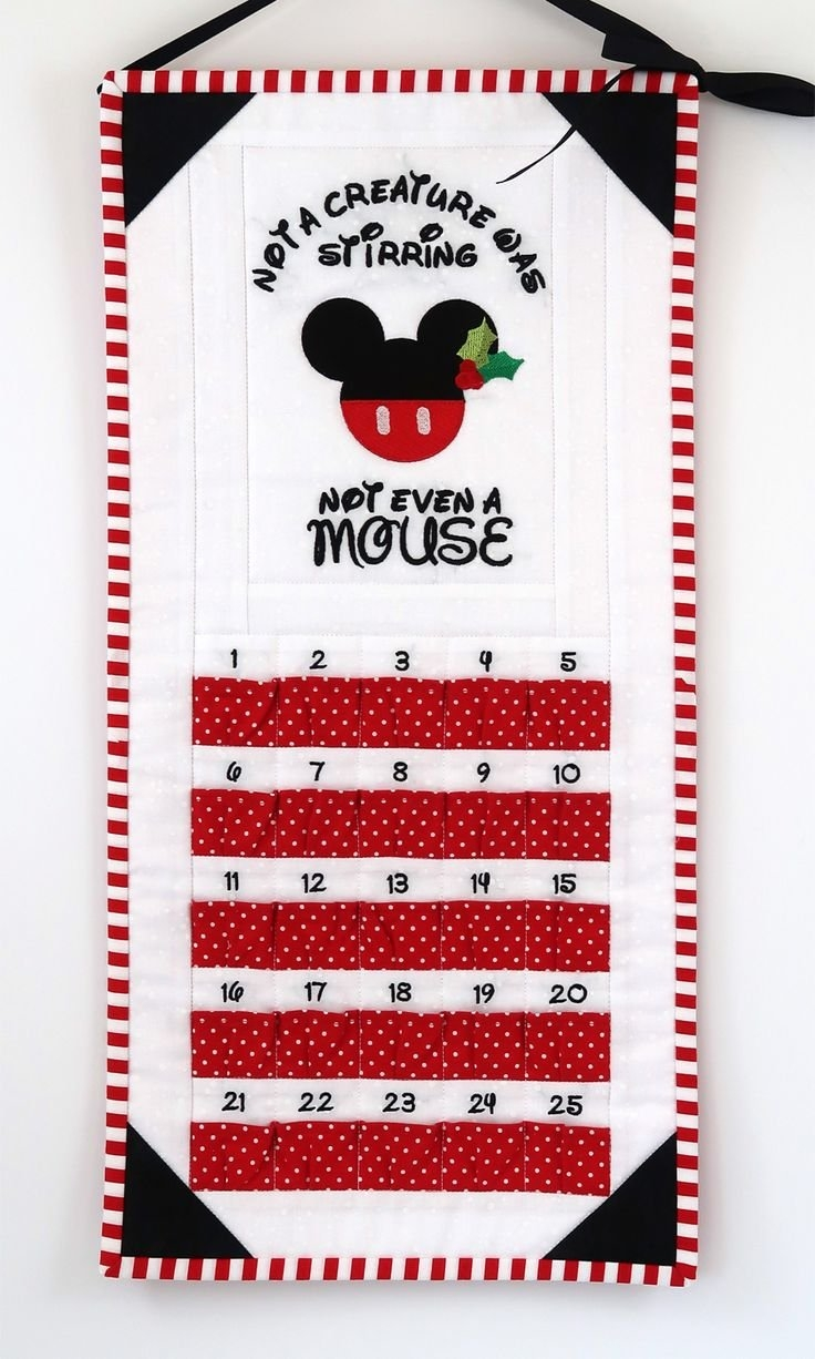 Mickey Mouse Silhouette Advent Calendar / Not A Creature Was   Etsy   Disney Quilt, Mickey Mouse within Countdown On Calendar Not Using Weekends Photo