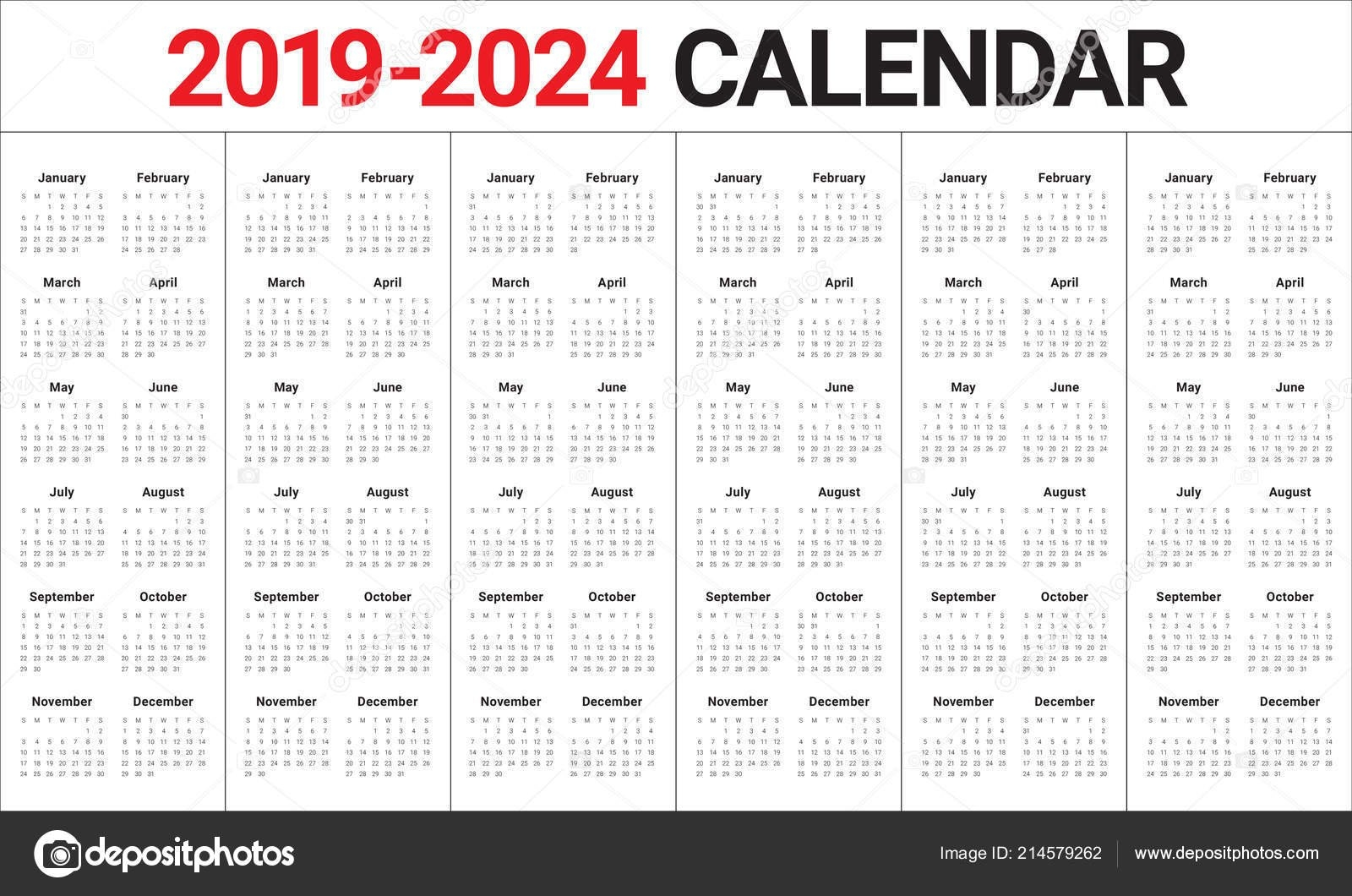Modèle Conception Vector Calendrier Année 2019 2020 2021 2022 2023 — Image Vectorielle pertaining to October Calendars For 2022 2023 2024 And 2025 Graphics