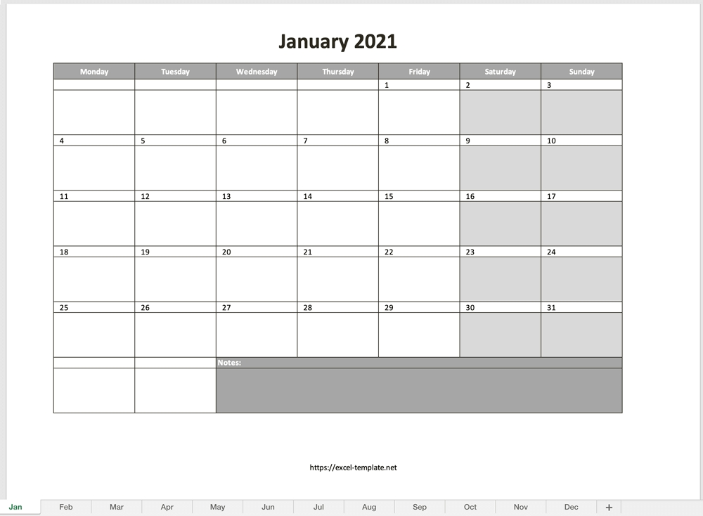 Monthly Calendar For 2021 [Free Excel Template] with regard to 2021 Excel Calendars Verticle