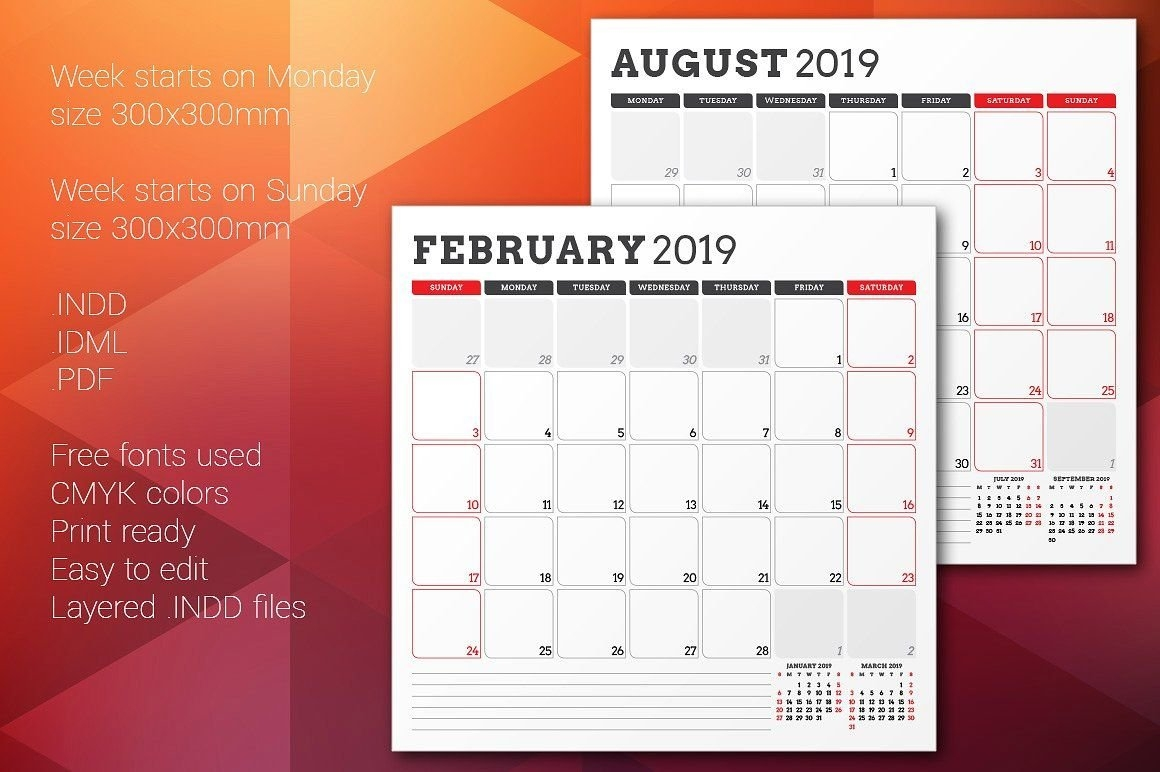 Monthly Planner 2019 | Indesign Templates, Monthly Planner, Planner regarding 2021 Indesign Calendar Template Graphics