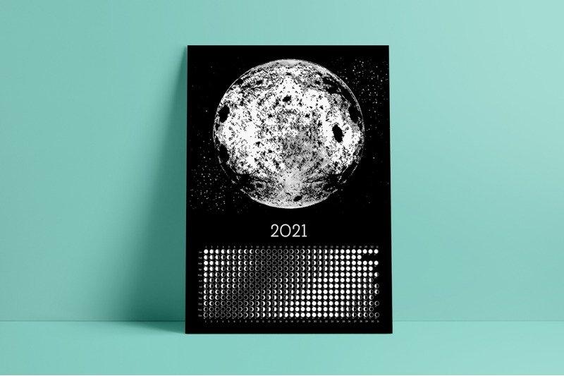Moon Calendar 2021 Black&Whiteland_Art | Thehungryjpeg intended for Full Moon Calendar 2021 Printable Photo