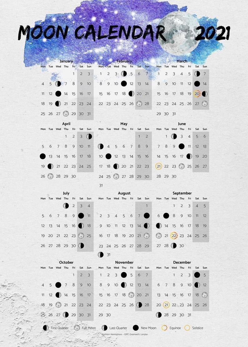Moon Calendar 2021 Moon Phases 2021 Poster   Etsy pertaining to 2021 Lunar Calendar Print