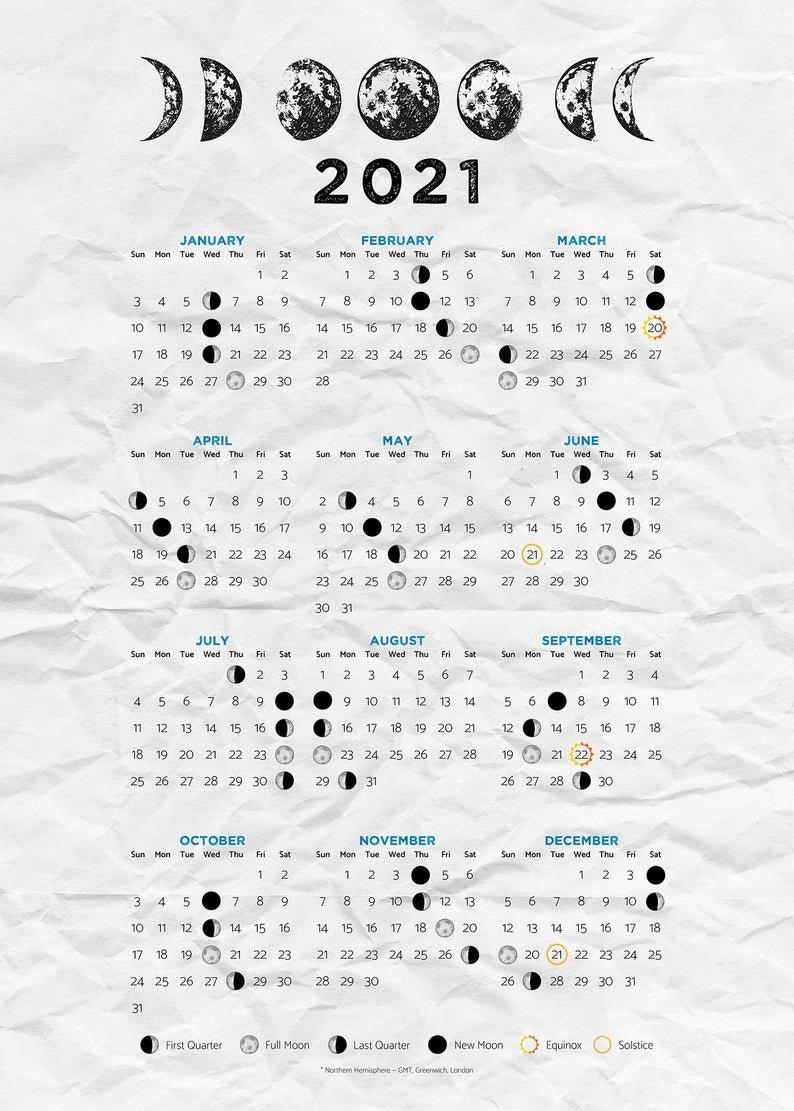 Moon Calendar 2021 Moon Phases 2021 Poster | Etsy pertaining to Full Moon Calendar 2021 Printable Photo