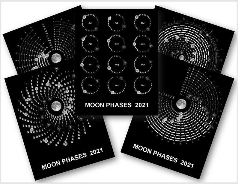 Moon Phases 2021. Lunar Calendar 2021. Digital Download   Etsy with Lunar Moon Calendar 2021