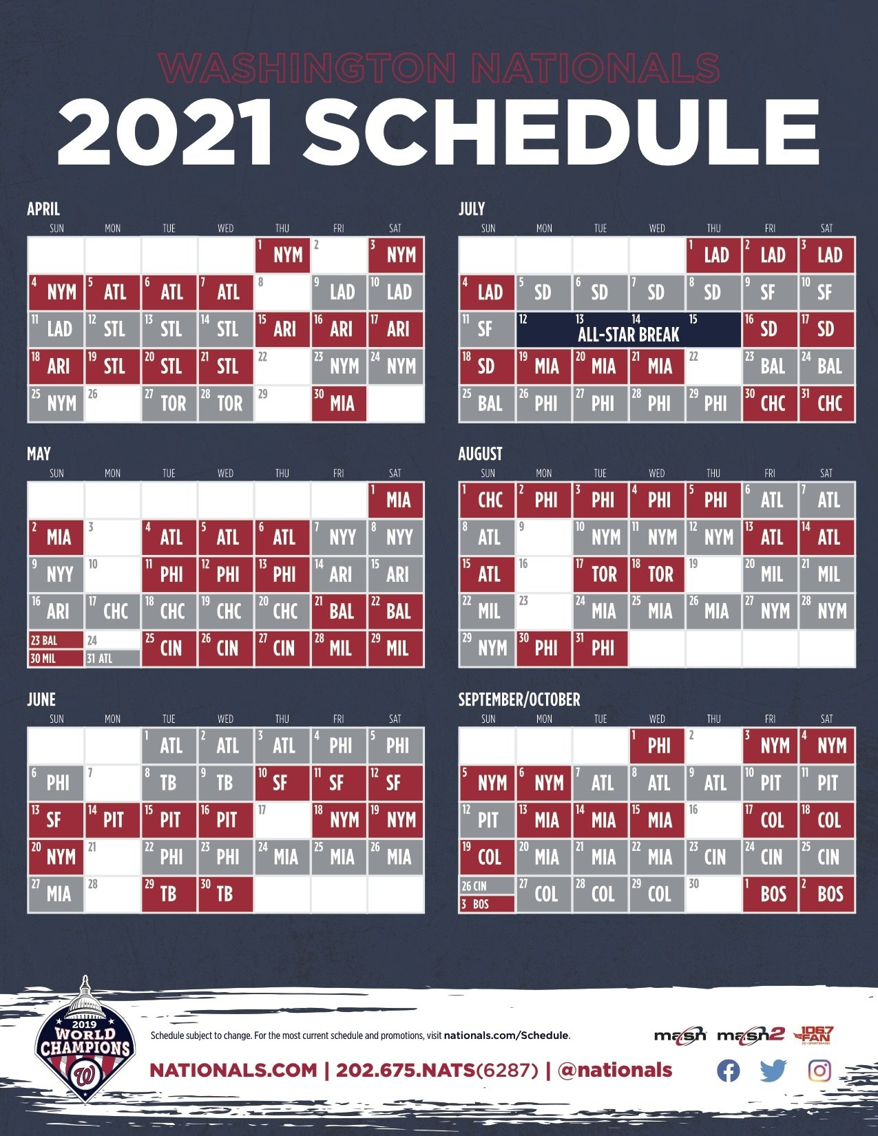 Nationals Announce 2021 Schedule - Masn News & Information throughout Broadcast Calendar 2021 Printable