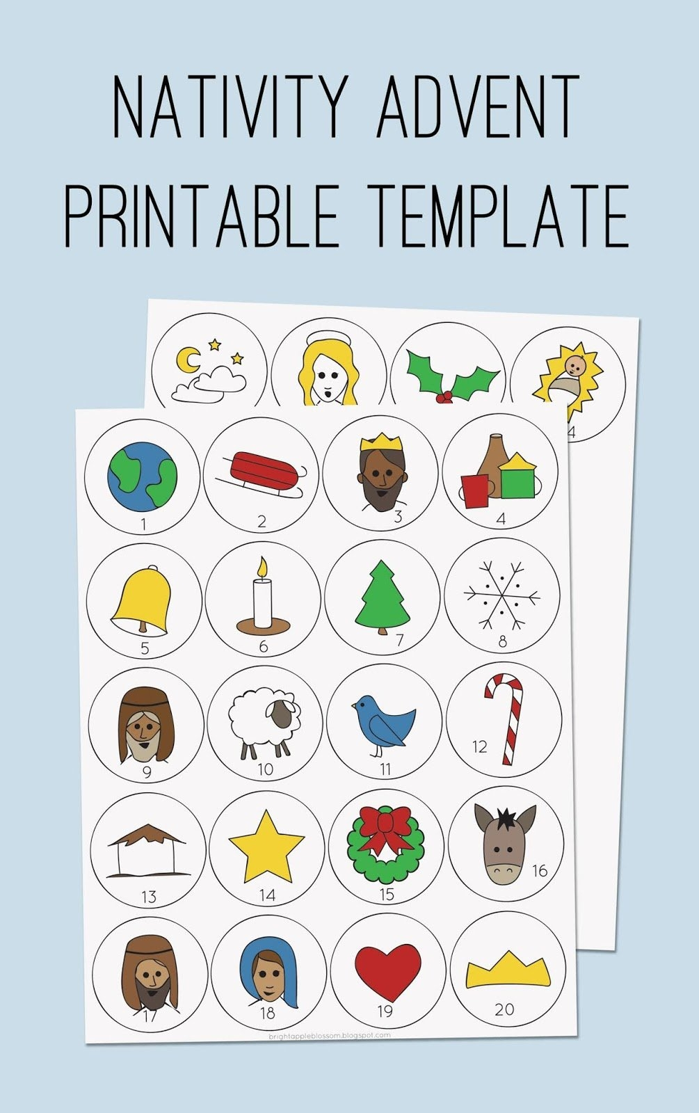 Nativity Advent Template - Bright Apple Blossom intended for Template For Advent Calendar