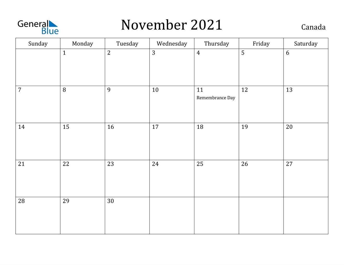 November 2021 Calendar - Canada throughout Father'S Day 2021 Canada Photo