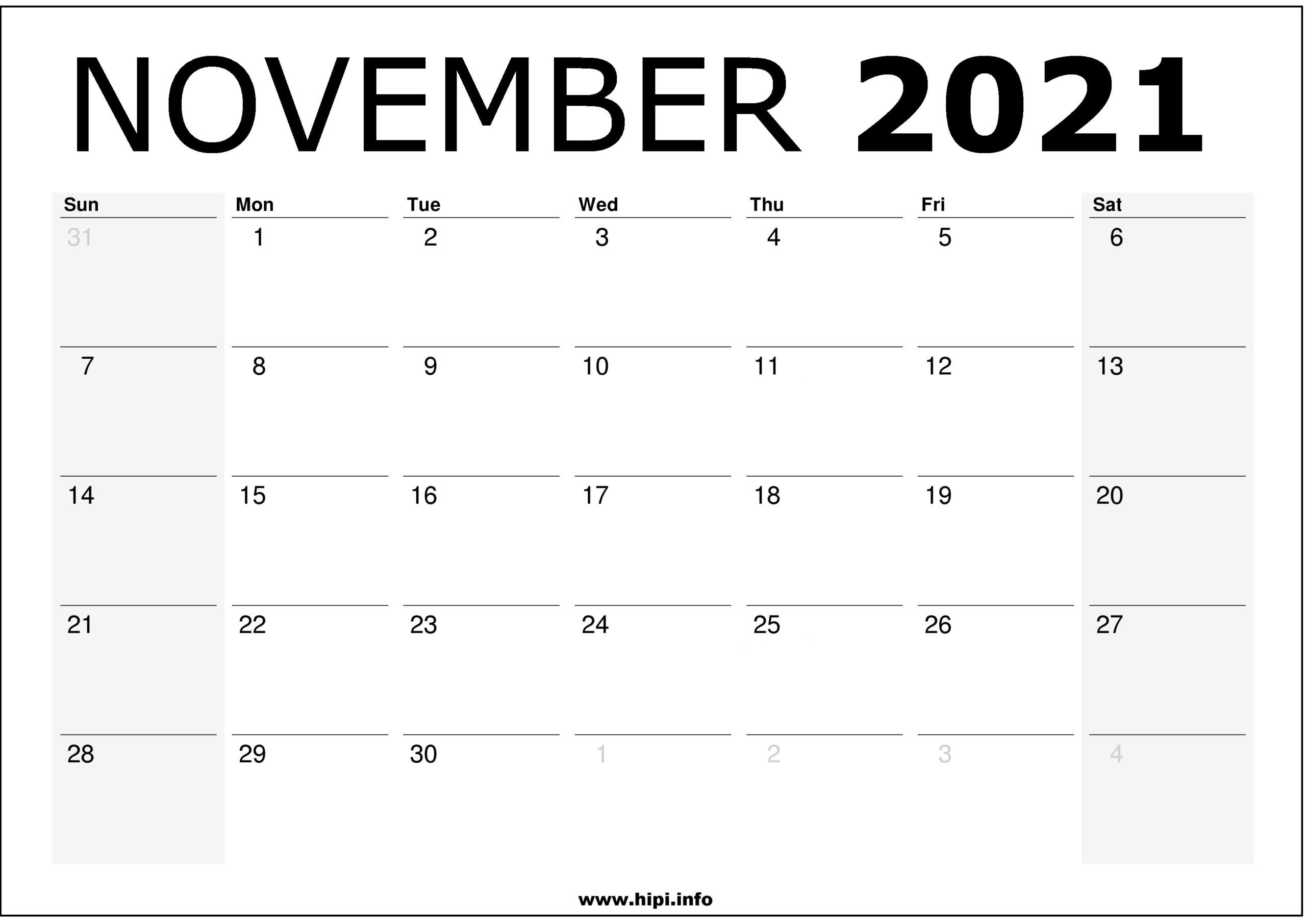 November 2021 Calendar Printable - Monthly Calendar Free Download - Hipi | Calendars throughout Free Printable Calendars 2021 Monthly