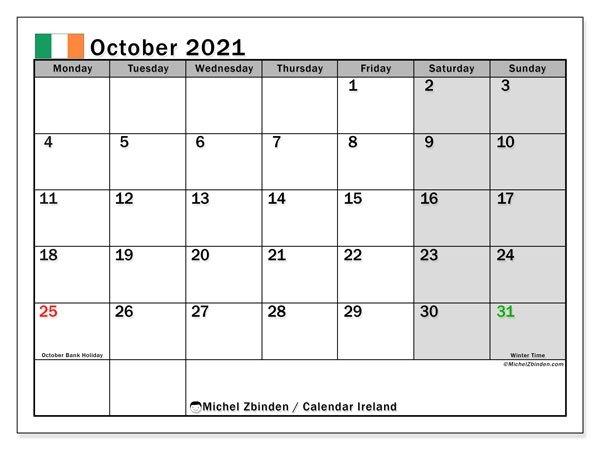 "October 2021 Calendars ""Public Holidays"" - Michel Zbinden En within Ontario Calendar 2021 With Holidays"
