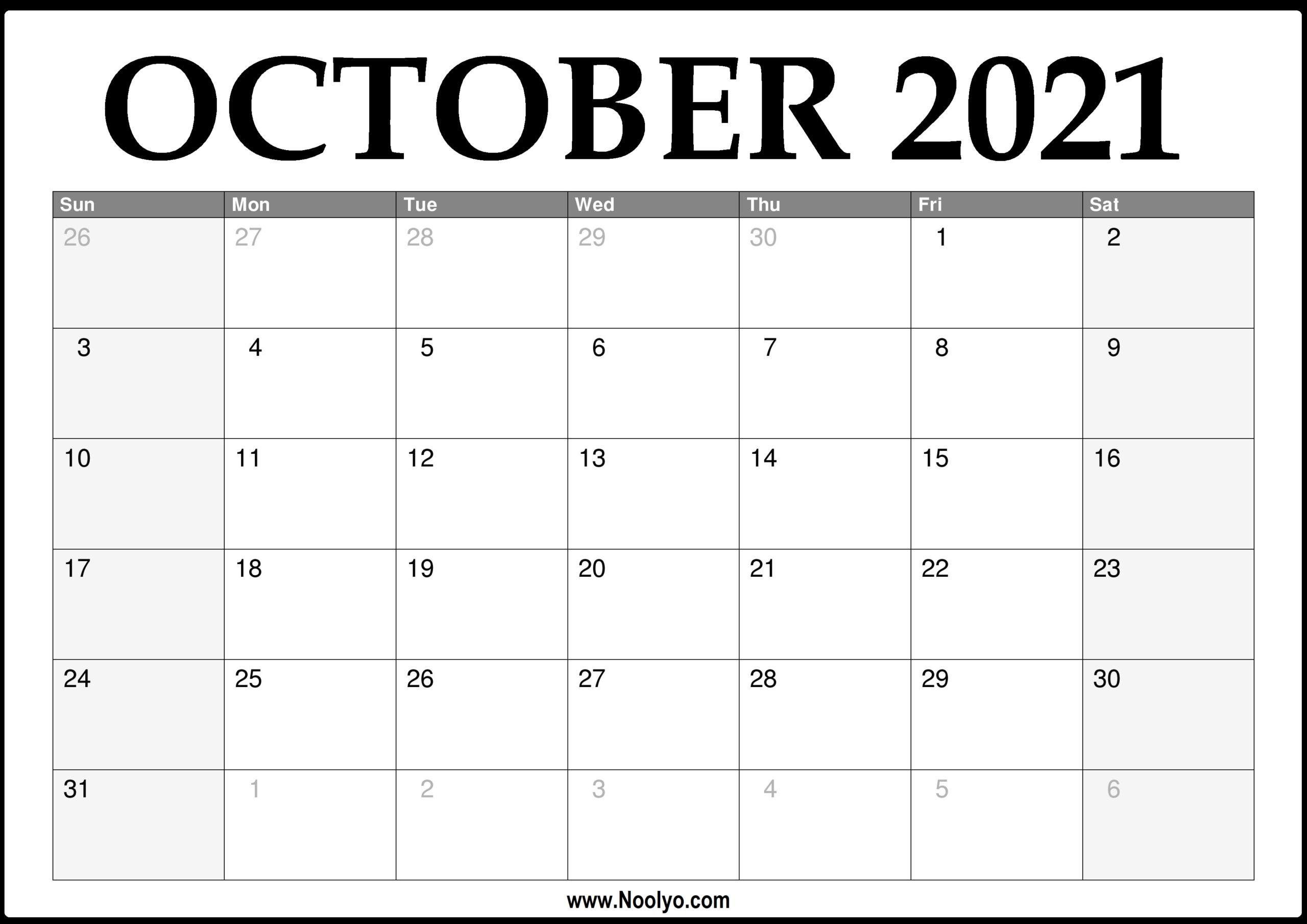 October 2021 Thru December 2021 Calendar | Calendar Printables Free Blank with regard to Free Printable Calendars 2021 Monthly