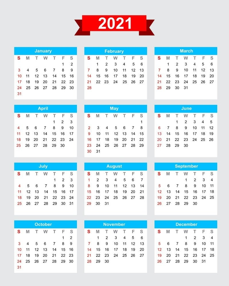 One Page 2021 Calendar Printable   Calendar 2021 in One Page Photo Calendar 2021