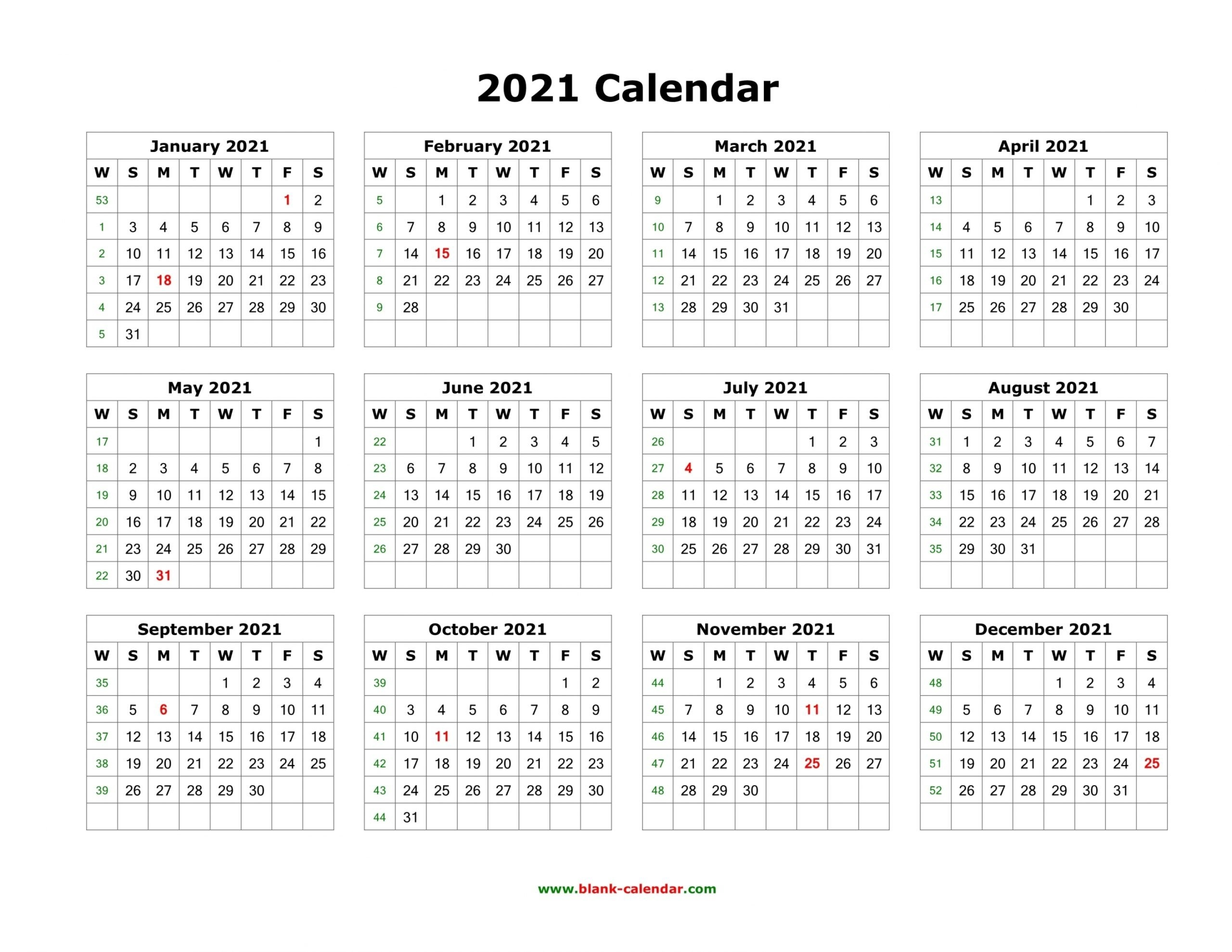 One Page Calendar 2021 | Free Letter Templates with regard to One Page2021 Calendar Printable Images Image