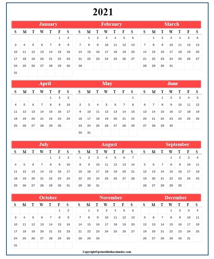 One Page Calendar 2021 [Free Printable Template] | Printable The Calendar with Print Calendar 2021 In Excel Photo
