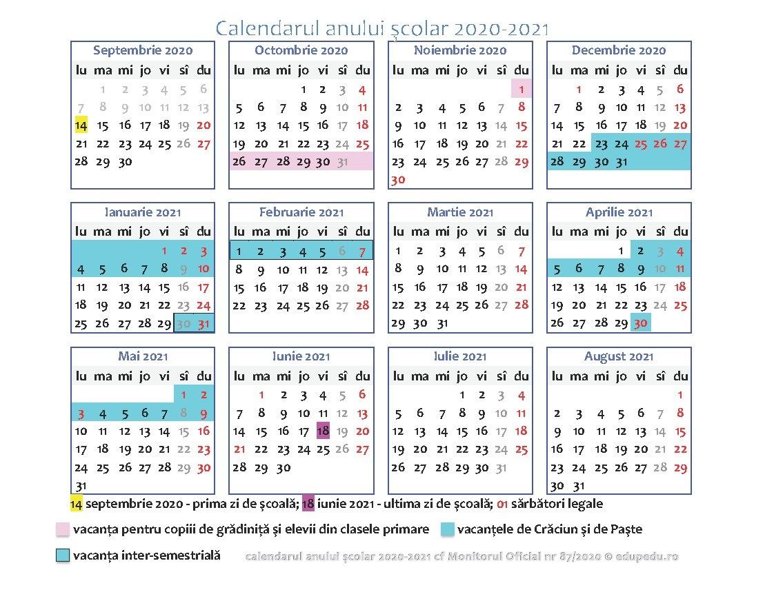 Ordinul Ministrului Educației Și Cercetării Nr. 3.125/2020 Privind Structura Anului Școlar 2020 inside Calendar 2021 Ro Zile Libere Photo