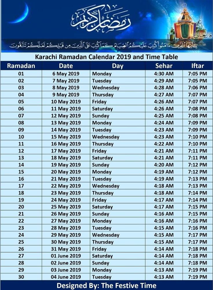 Pakistan Ramadan Calendar 2019, Sehr O Iftar Timings, Ramzan Time | Ramadan regarding Ramadan 2021 Calendar Usa Graphics