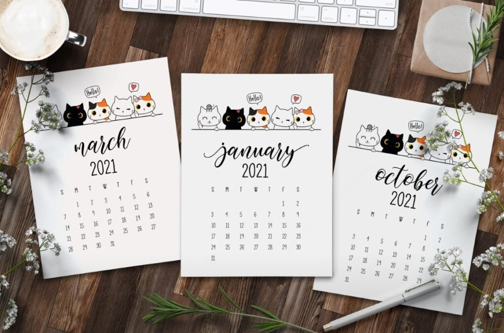 Peeking Cats 2021 Calendar Free Printable - World Of Printables for Which Calendar Year Match 2021 Graphics