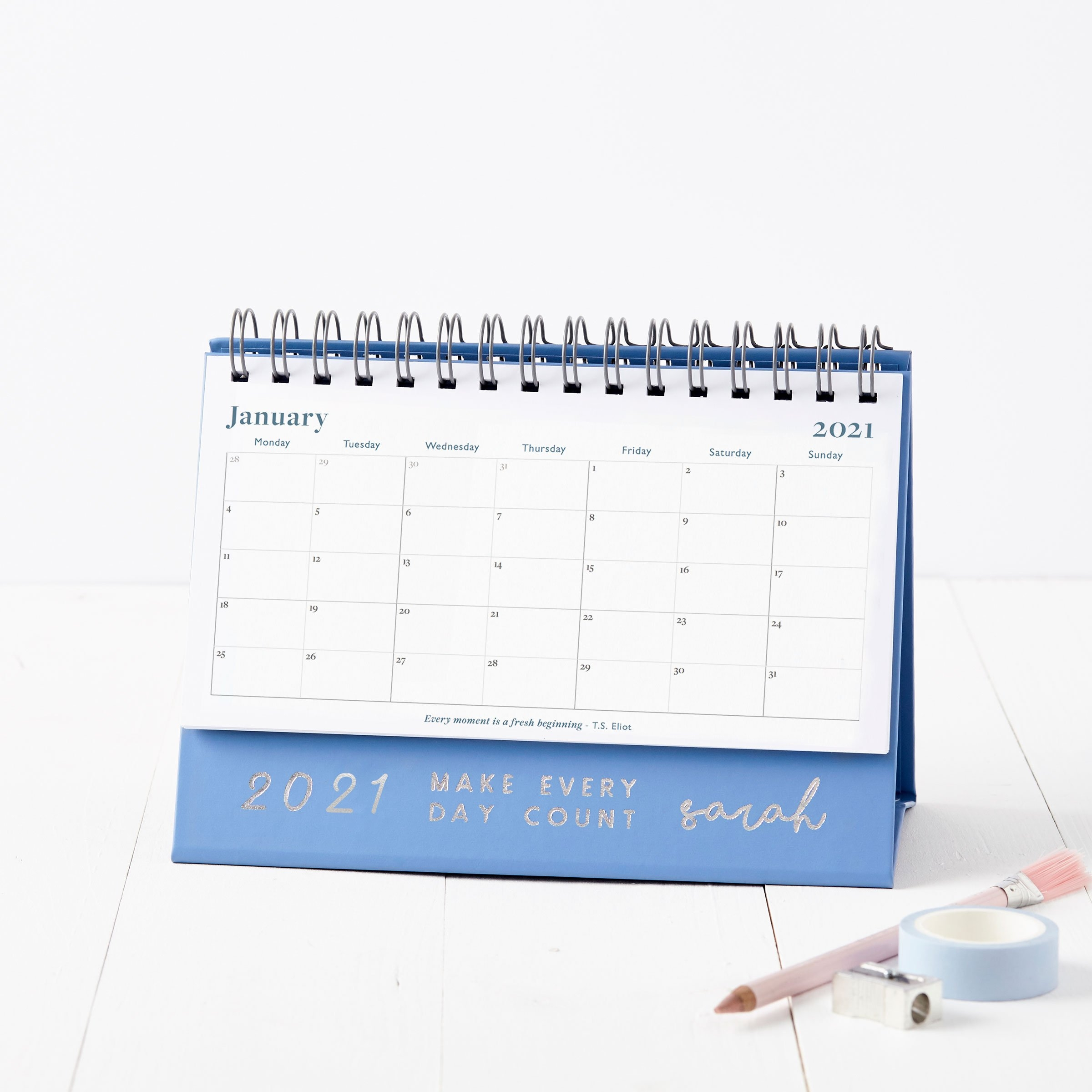 Personalised Make It Count 2021 Desk Calendar   Martha Brook with regard to Calendar Photo Maker 2021 Image