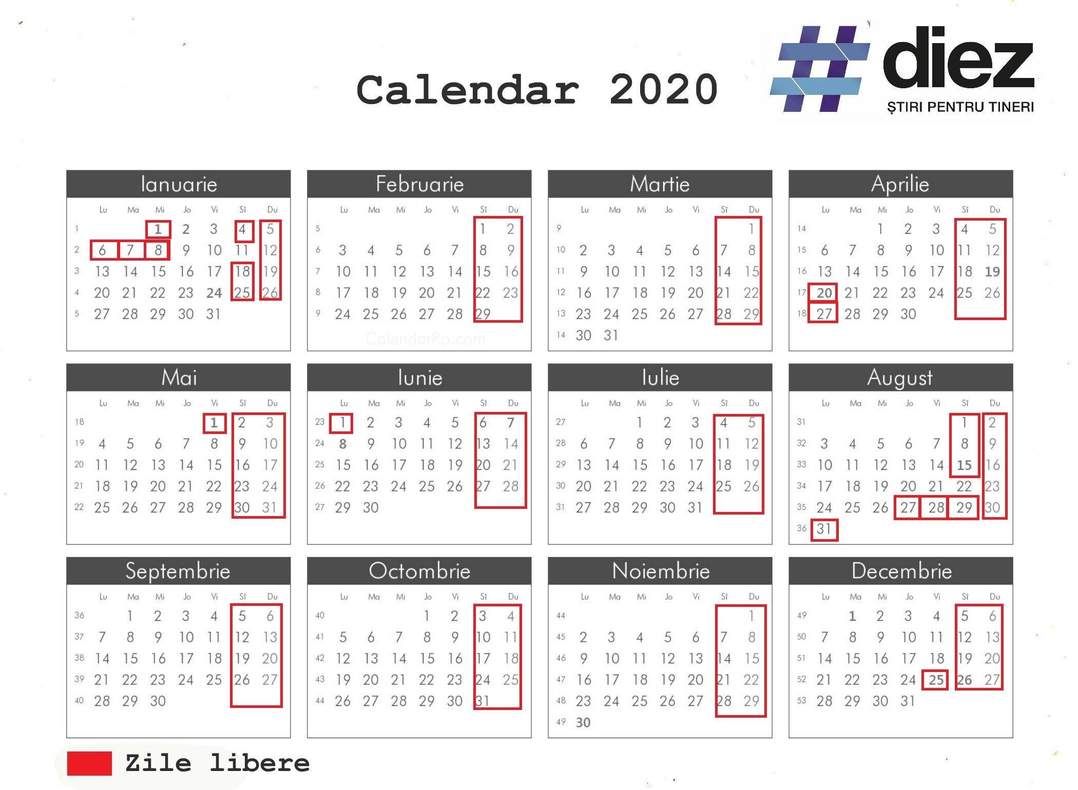 Pick Calendar 2020 Zile Libere   Calendar Printables Free Blank with Calendar Cu Zile Libere Legale Pentru 2021
