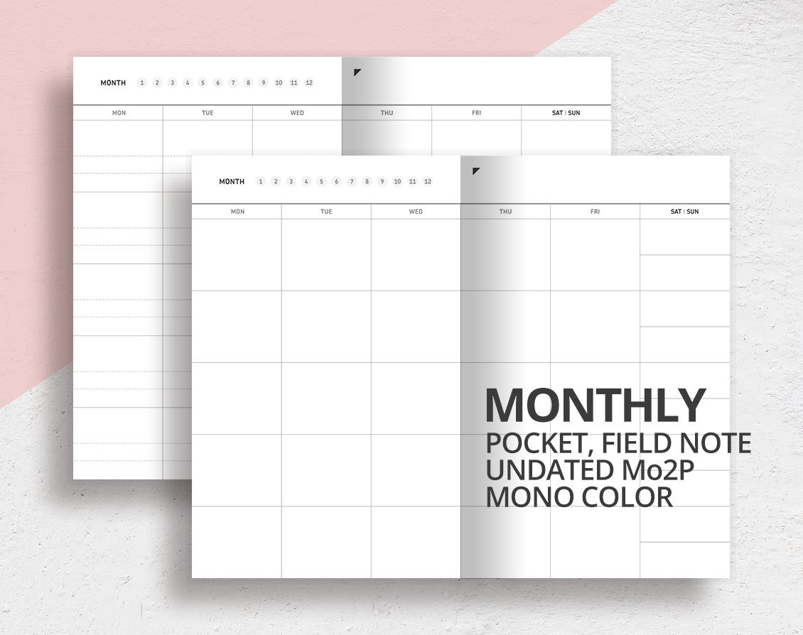 Pocket Field Note Size Monthly Insert/Mo2P/Printable Undated pertaining to Free Downloadable Pocket Calendar Photo