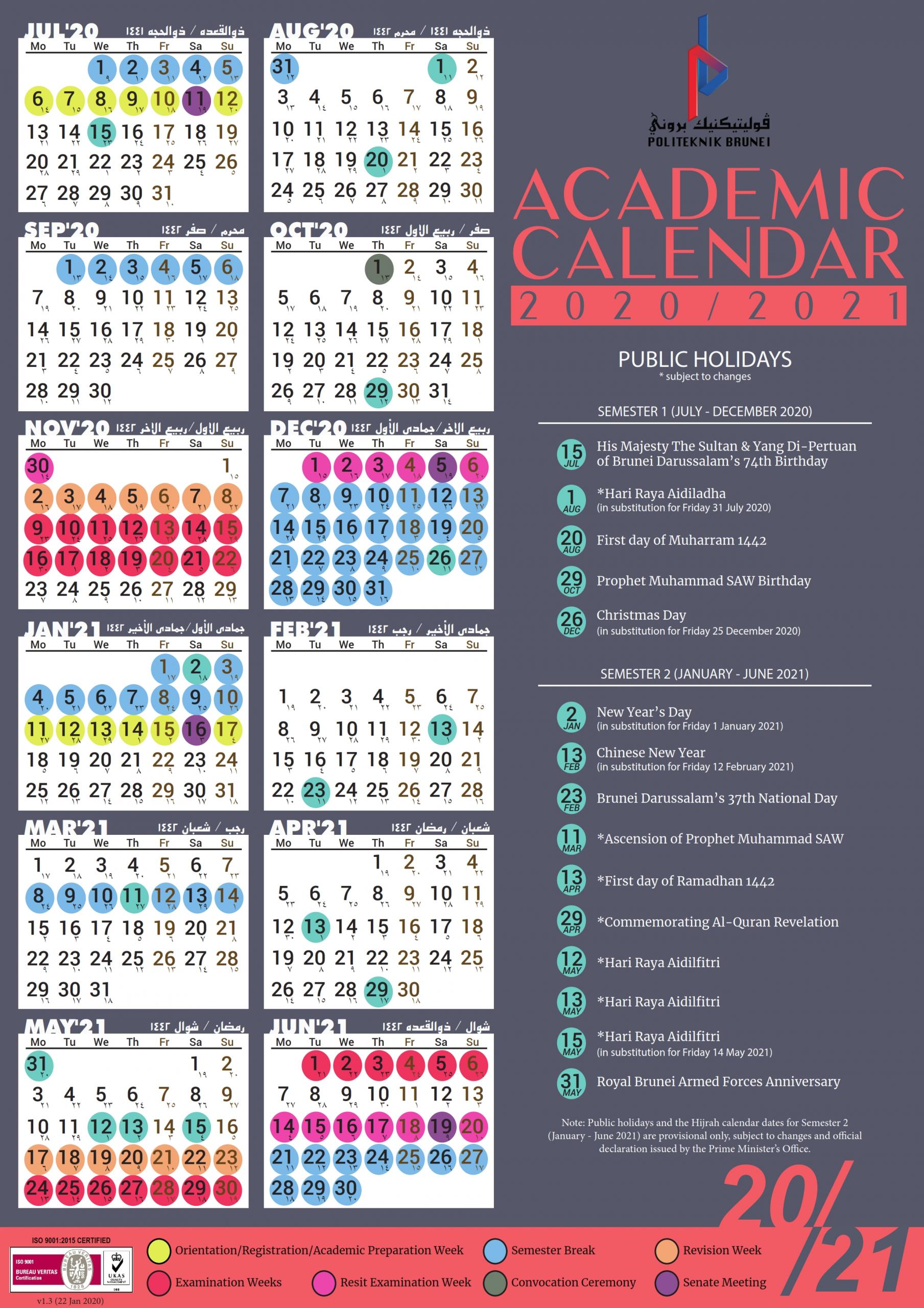 Politeknik - Academic-Calendar for Calendar 2021 Brunei For Print Photo